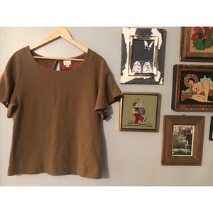 Anthropologie Olive Ruffle Shirt M